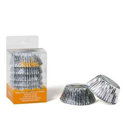 Confezione da 60 pirottini argento Decora