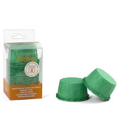 25 Pirottini per muffin verdi increspati in carta Ø5,5 x h 3,5 cm Decora
