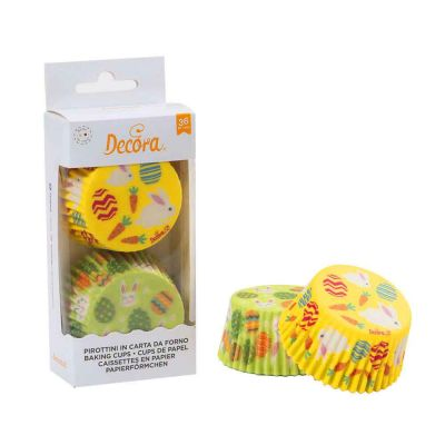 36 Pirottini in carta decori Pasqua per cottura muffin Ø5 x h 3,2 cm Decora
