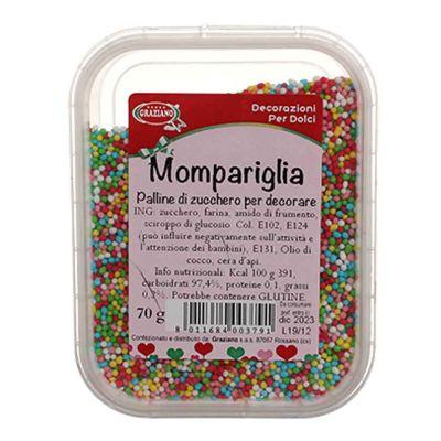 Mompariglia palline di zucchero colorate per decorare 70 g Graziano