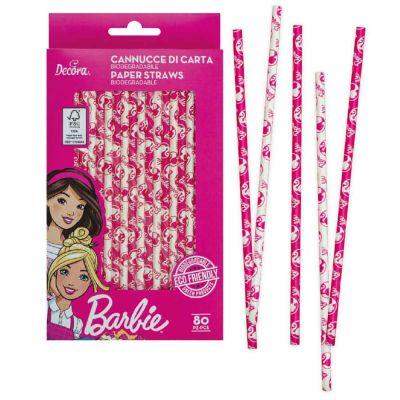 Confezione 80 Cannucce di carta colorate Barbie 21cm