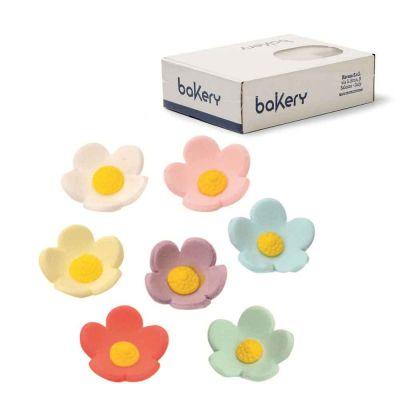 60 Decorazioni fiorellini grandi colori assortiti in zucchero Bakery