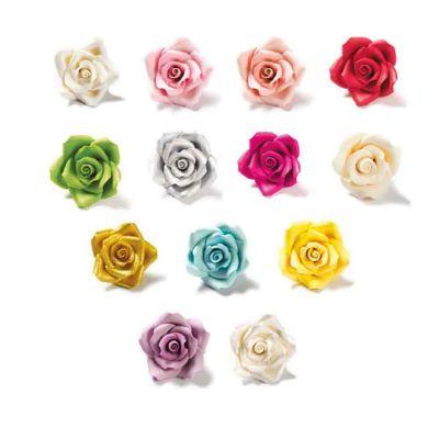 24 Decorazioni Rose grandi colori assortiti in zucchero Bakery