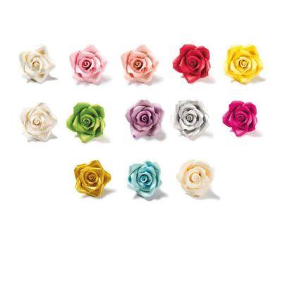 30 Decorazioni Rose medie colori assortiti in zucchero Bakery