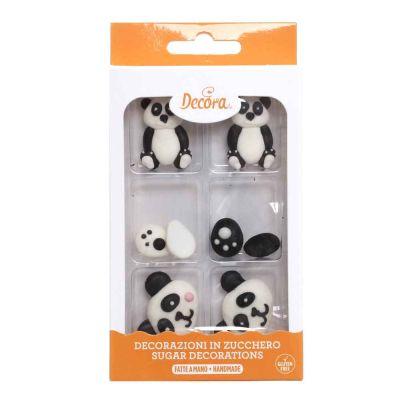 8 Decorazioni tema Panda in zucchero bianche e nere Decora