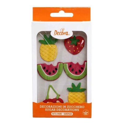 6 Decorazioni frutti tropicali in zucchero Decora