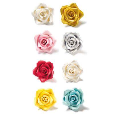 6 Decorazioni Rose grandi in zucchero Decora