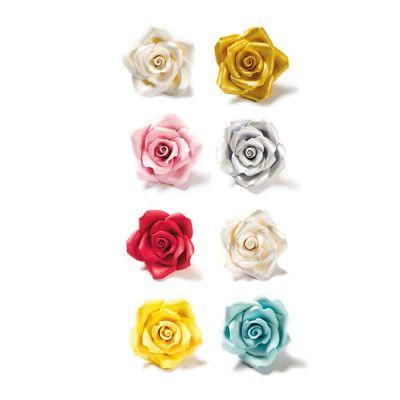 8 Decorazioni rose medie di zucchero Decora