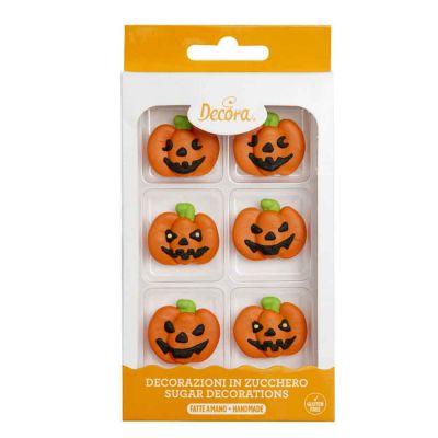 6 Decorazioni zucchette di Halloween in zucchero Decora