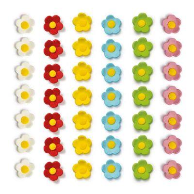 16 Decorazioni fiorellini medi rossi in zucchero Decora