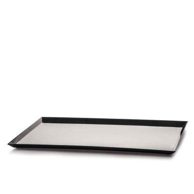 Vassoio moderno di plastica nera Mambo per esposizione 37x27 cm