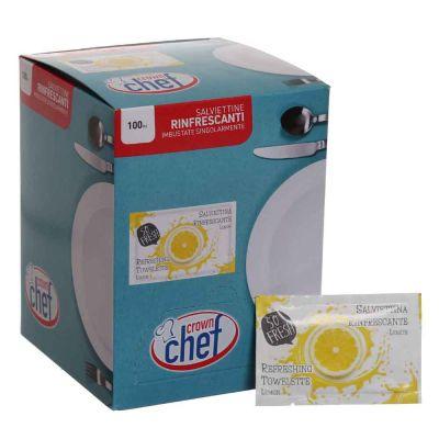Dispenser 100 Salviettine umidificate per mani al limone imbustate singolarmente