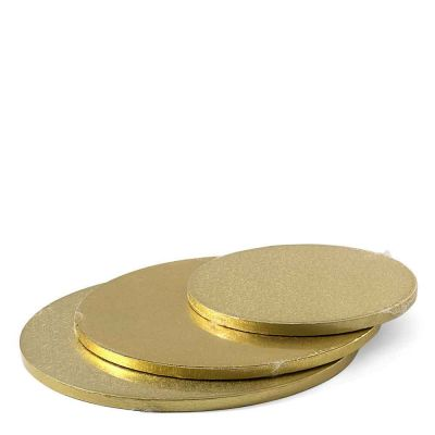 Cakeboard vassoio Sottotorta rotondo rivestito oro h 1,2 cm diametri vari