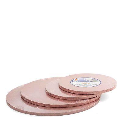 Cakeboard vassoio Sottotorta rotondo rivestito rosa antico h 1,2 cm diametri vari