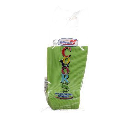 Cucchiaini di plastica colorati da dessert DOpla verde acido