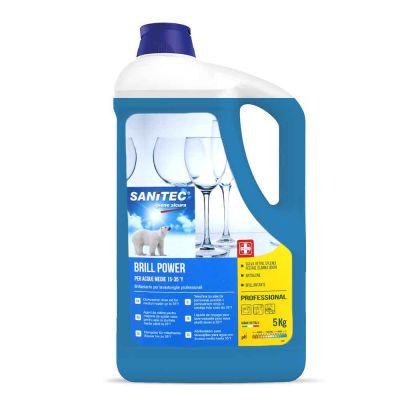 Brill Power Brillantante per lavastoviglie per acque medie Sanitec 5 L