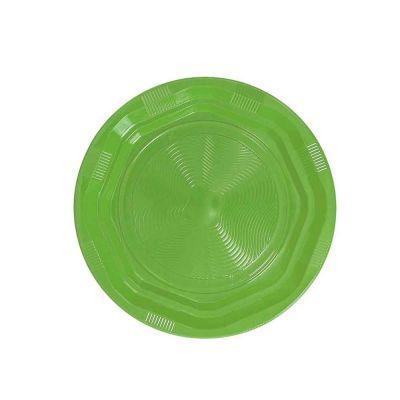 25 Piatti di plastica fondi riutilizzabili e lavabili verde acido DOpla Ø22 cm
