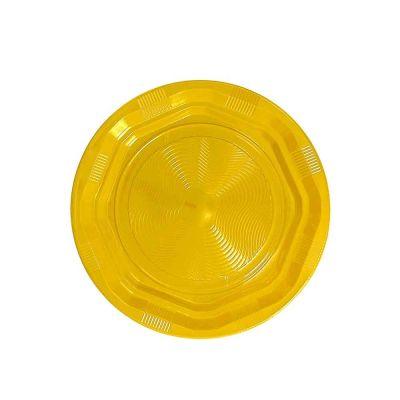 25 Piatti di plastica fondi riutilizzabili e lavabili gialli DOpla Ø22 cm