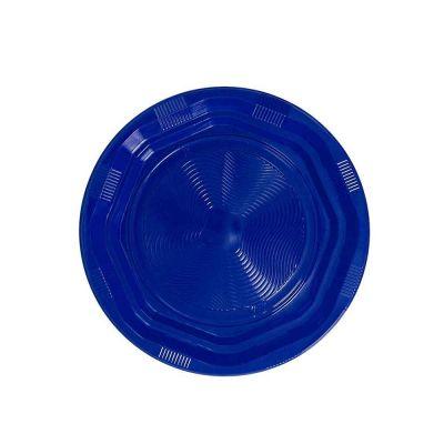 25 Piatti di plastica fondi riutilizzabili e lavabili blu DOpla Ø22 cm