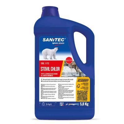 Stovil Chlor detergente clorinato alcalino Sanitec per tutte le durezze dell'acqua 5,8 L