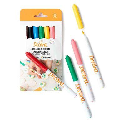 Confezione da 6 Pennarelli colorati per alimenti punta fine Decora