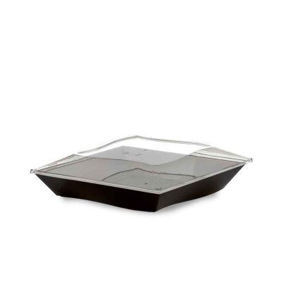 Piatti di plastica eleganti Vanity 16x16cm neri con coperchio