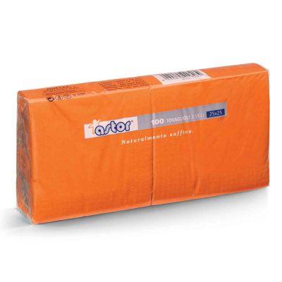 Tovaglioli da cocktail in carta di pura cellulosa 2 veli 25x25 arancio