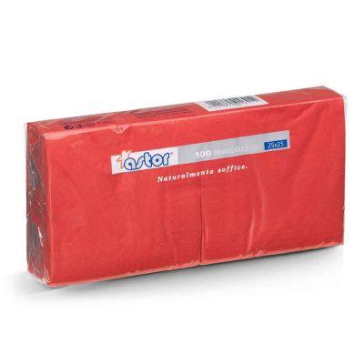Tovaglioli da cocktail in carta di pura cellulosa 2 veli 25x25 rosso