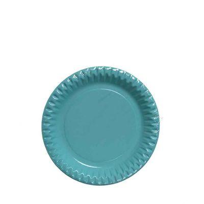 Piattini di carta azzurri in cartoncino per feste DOpla Party Ø18 cm