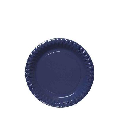 Piattini di carta blu in cartoncino per feste DOpla Party Ø18 cm