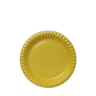 Piattini di carta gialli in cartoncino per feste DOpla Party Ø18 cm