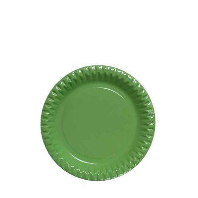 Piattini di carta verde acido in cartoncino per feste DOpla Party Ø18 cm