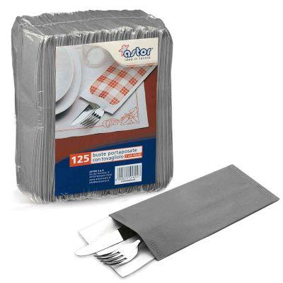 Buste sacchetti portaposate in carta paglia grigio
