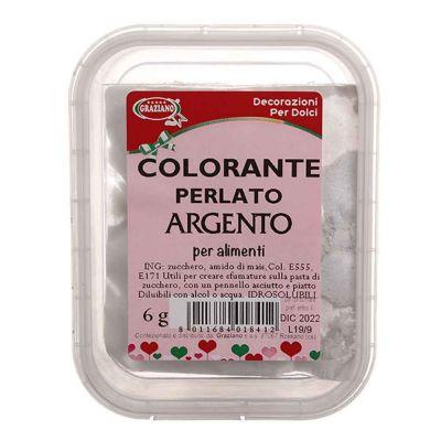 Colorante in polvere per alimenti argento perlato 6 g