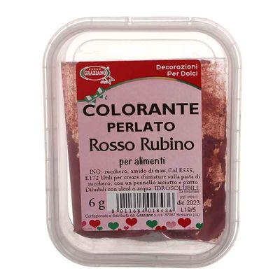 Colorante in polvere per alimenti rosso rubino perlato 6 g