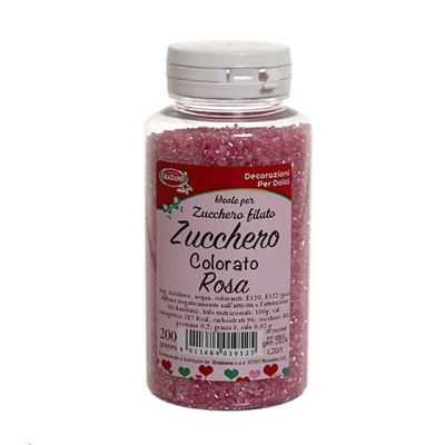 Cristalli di zucchero colorato rosa per decorazioni e zucchero filato 200 g