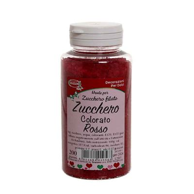 Cristalli di zucchero colorato rosso per decorazioni e zucchero filato 200 g