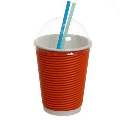 Bicchieri 420ml arancio con coperchio cupola per cannucce