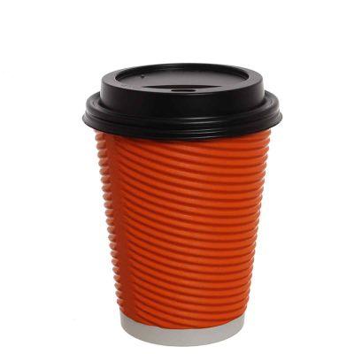 Bicchieri di carta ondulata 420ml arancio con coperchio