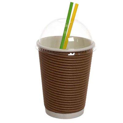 Bicchieri 420ml nocciola con coperchio cupola per cannucce