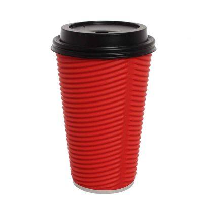 Bicchieri di carta ondulata 550ml rosso con coperchio