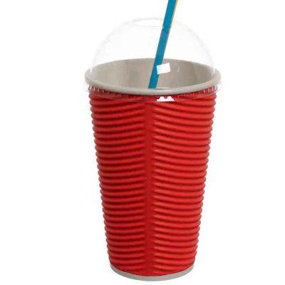 Bicchieri 550ml rosso con coperchio cupola per cannucce