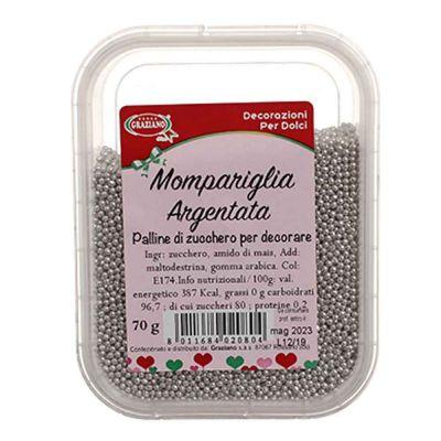 Mompariglia palline di zucchero color argento per decorare 70 g Graziano
