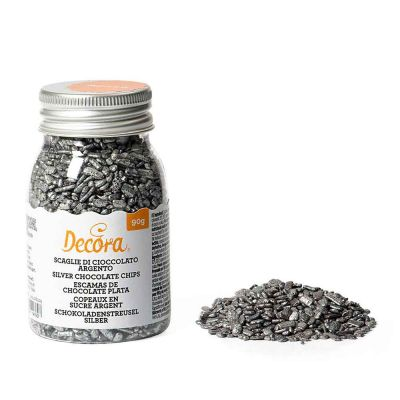 Scaglie di cioccolato argento per decorazione dolci 90 g Decora
