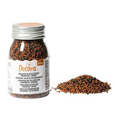 Perline di zucchero colore arancio e nero mix per decorazione 100 g Decora