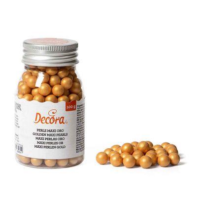Perle di zucchero grandi color oro per decorazione 100 g Decora