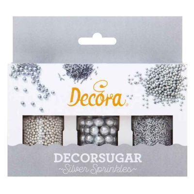 Set perle perline e bastoncini color argento per decorazioni 85 g Decora