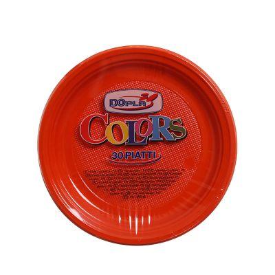 Piatti di plastica piani colorati DOpla Colors Ø22 arancione