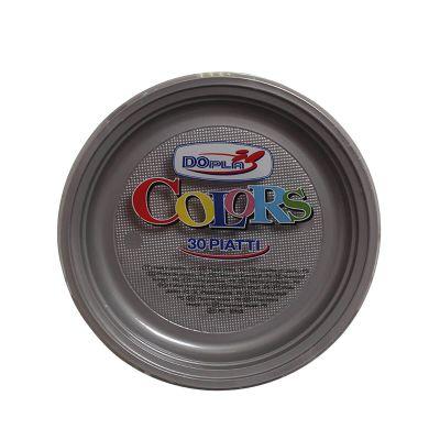 Piatti di plastica piani colorati DOpla Colors Ø22 argento
