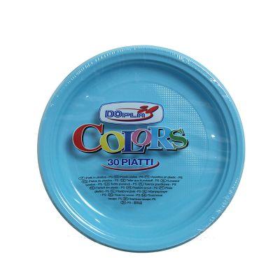 Piatti di plastica piani colorati DOpla Colors Ø22 azzurro